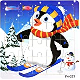 Facial Recognition Os X - DZT1968 22kinds Wooden Puzzle cartoon Educational Development Baby Training Toy Christmas Gift (j)