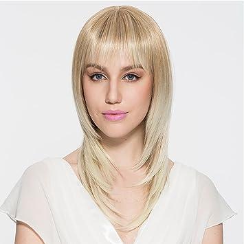Namecute Perücke Blond Hitzebeständig Mittellang Glatt Haare Ombre