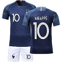 JIAJIA YL T-Shirt Garçon Maillot de Football France 2 étoiles et Short Coupe du Monde 2018