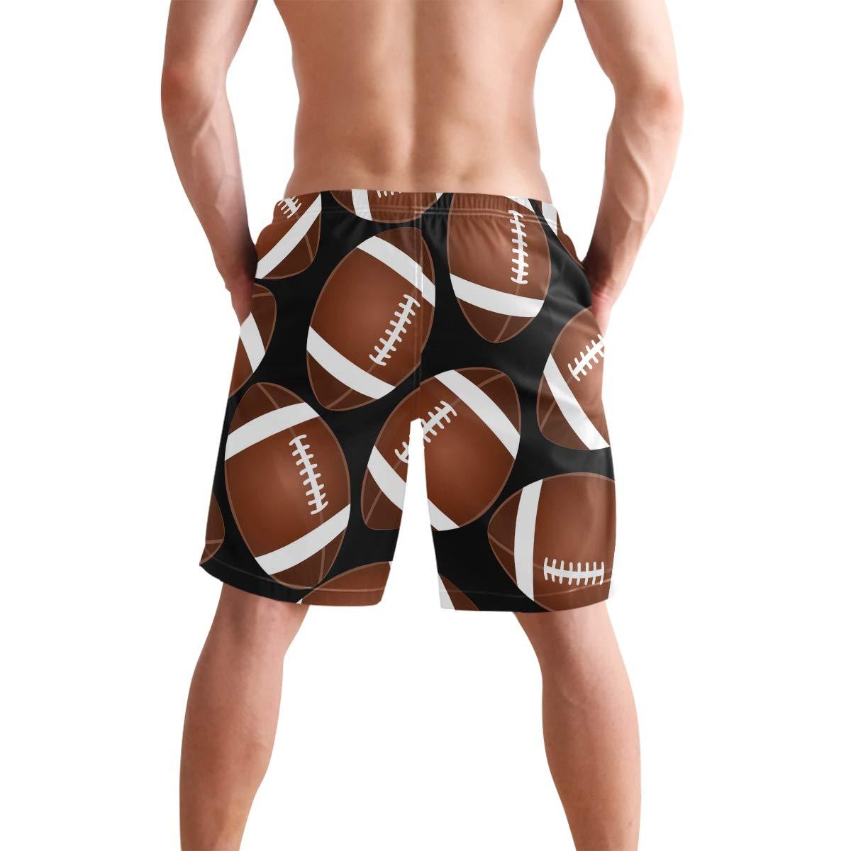 COVASA Mens Summer ShortsFootball On Black