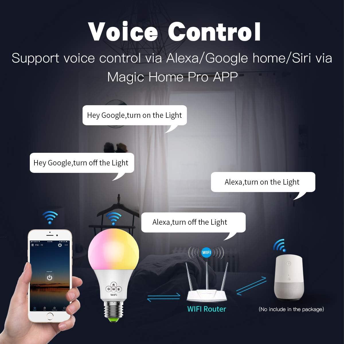 Ampoule LED Smart WiFi 6.5W à couleurs changeantes pour Alexa Google