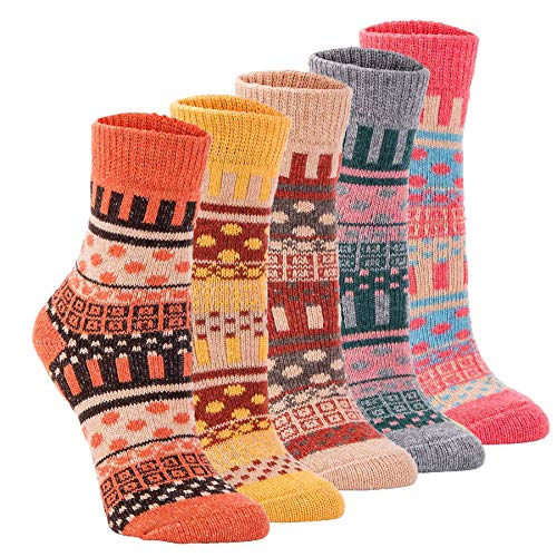 5Pack Womens Vintage Thick Knit Warm Casual Wool Crew Winter Socks,Multicolor (Multicolor-2)