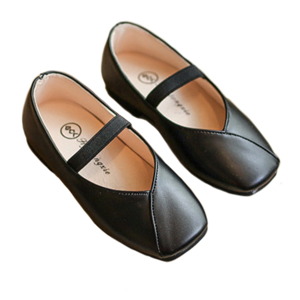 Toddler Girls Slip On Loafers Flat School Uniform Mary Jane Princess Ballerina Flat Dress Shoes Black Size 29