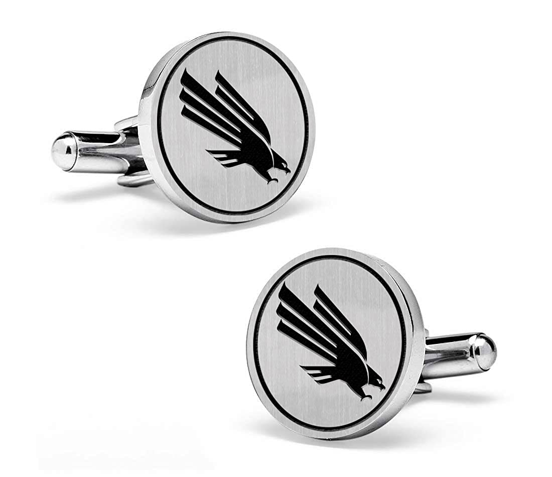 North Texas Mean Green Eagles Cufflinks Sterling Silver Medium Size Round Top