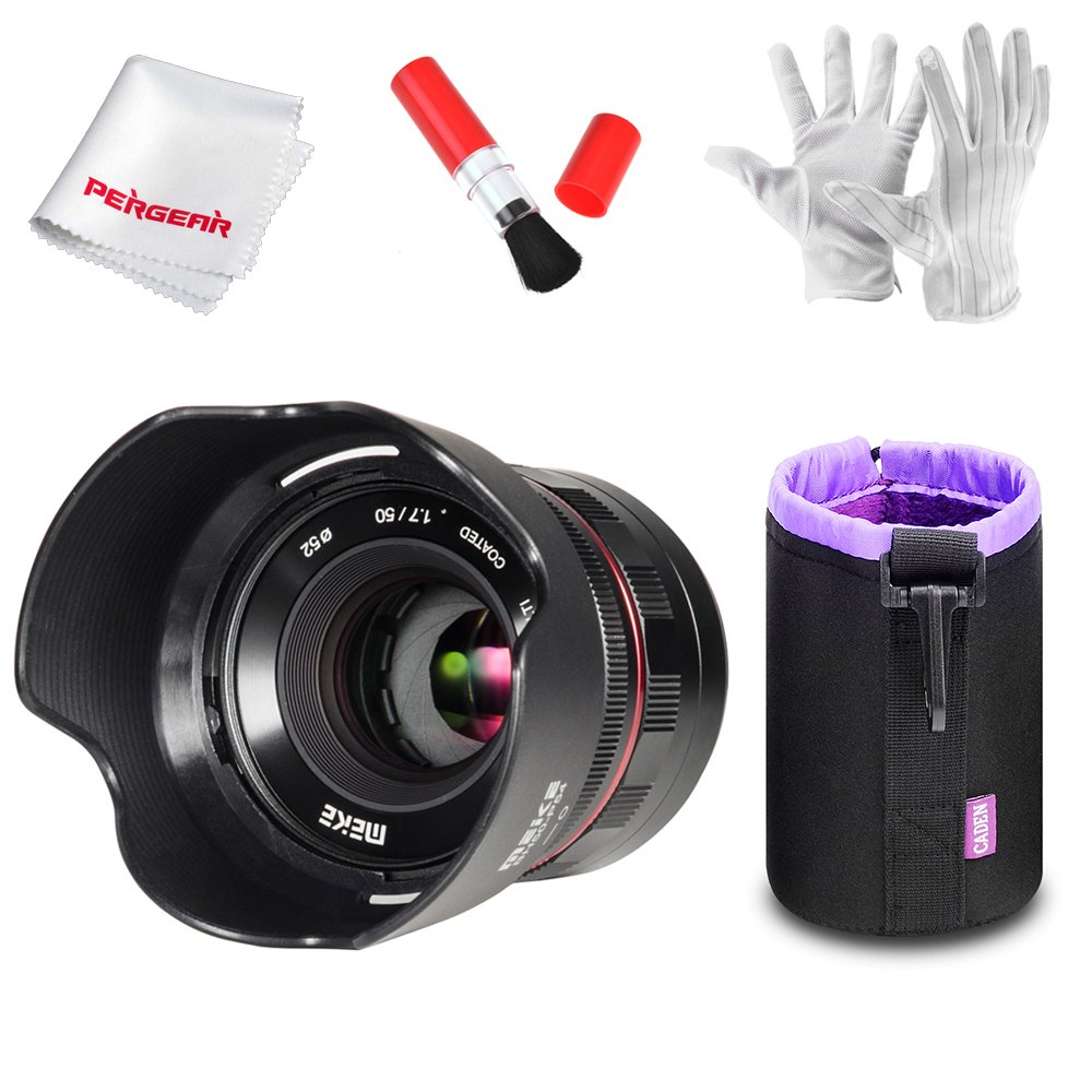 Meike mk-50 mm f1.7 Large絞りPrimeポートレートレンズfor Sony Eマウントカメラ、フルフレーム使用可能、マニュアルフォーカス、アルミボディ銅コア、多層Nanoコーティングwith Pergearクリーニングキット   B07DB1SD8M