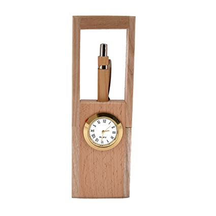 Indian Sparrows Wooden Pen Stand with Watch (Product Dimensions: (Inches) 2 x 1 x 7)
