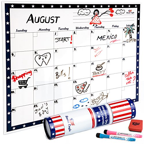 """Dry Erase Calendar – Fridge Magnetic Calendar – Refrigerator Dry Erase Board 16""""X12"""" to Plan Your Monthly Activities that Comes with Two Vibrant Markers and One Eraser by Home Eagle"""