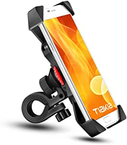 Tiakia Bike Phone Mount Bicycle Phone mount Anti Shake and Stable Cradle Clamp with 360° Rotation / Bike Accessories / Bike Phone Holder for iPhone for iPhone 11/X/8/7/7+/6/6+/6S/6S+/5S/5C, Samsung Galaxy S3/S4/S5/S6/S7/S8 Note 3/4/5,Nexus,HTC,LG & GPS Devices Android GPS Other Devices Between 3.5 to 6.5 inches