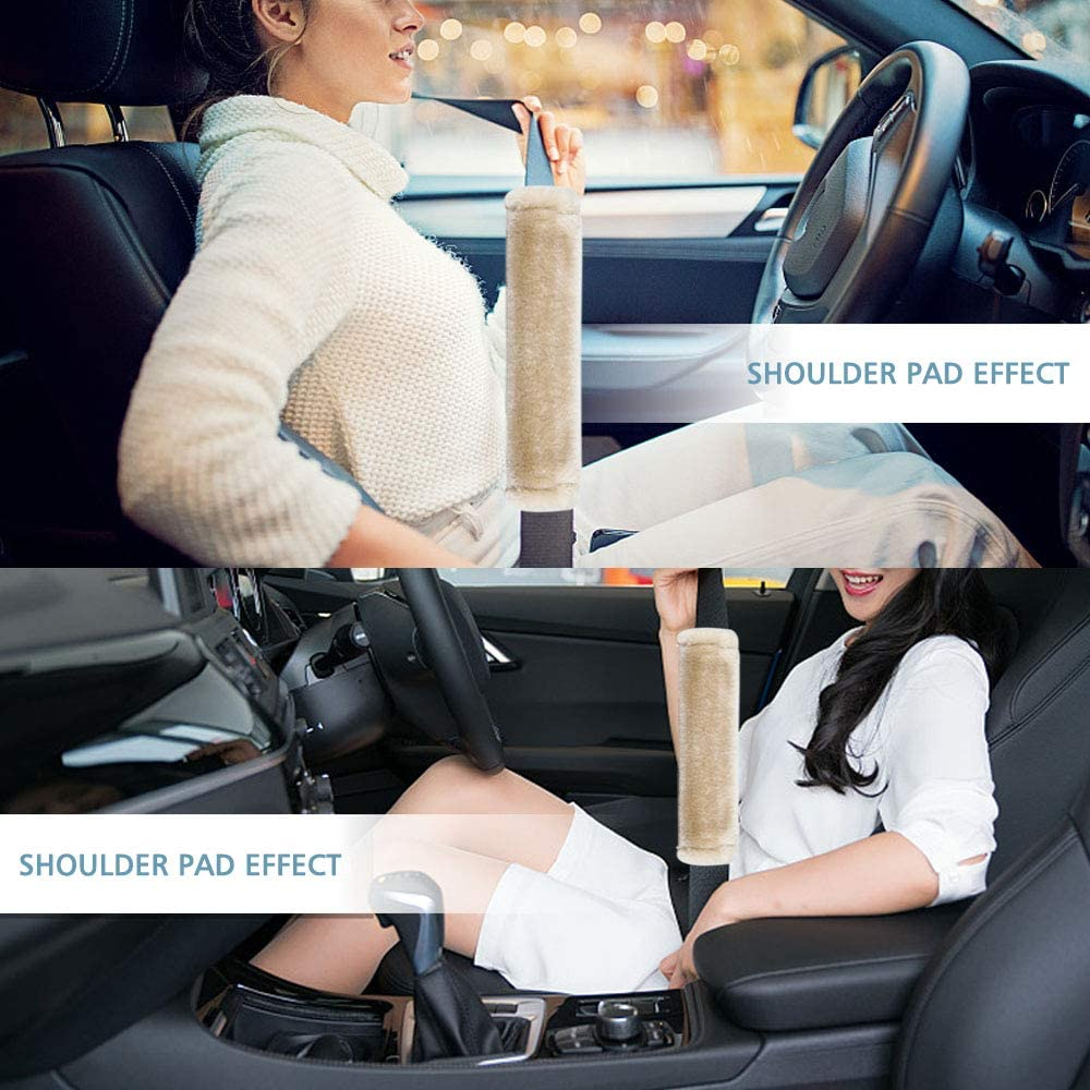 Soft Faux Sheepskin Wool Universal Seatbelt Cover for More Comfortable Driving,Multipurpose for Handbag Carmera Backpack Straps,4pc(Black) Moonet Auto Seat Belt Shoulder Pad