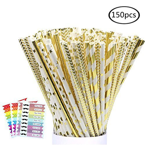 LoveS 150 Pack Biodegradable Paper Straw for Birthdays, Weddings, Baby Showers, Celebrations and Parties, Gold, White