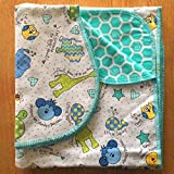 quilter flannel - Baby Blanket with matching Shoulder Burp Two Layers of Double Brushed 100% Cotton Flannel