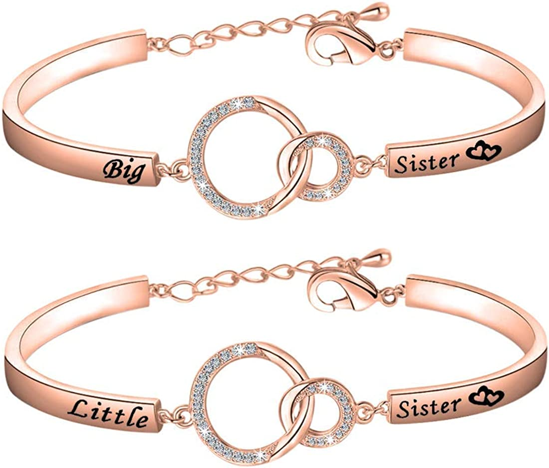 JJTZX Always My Sister Forever My Friend Inspirational Cuff Bangle Bracelet /&Keychain Set Gift for Sisters