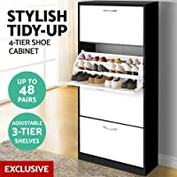 Shoe Cabinet, Artiss 48 Pairs Pull-Out Shoe Rack Storage Cupboard Wooden Black & White
