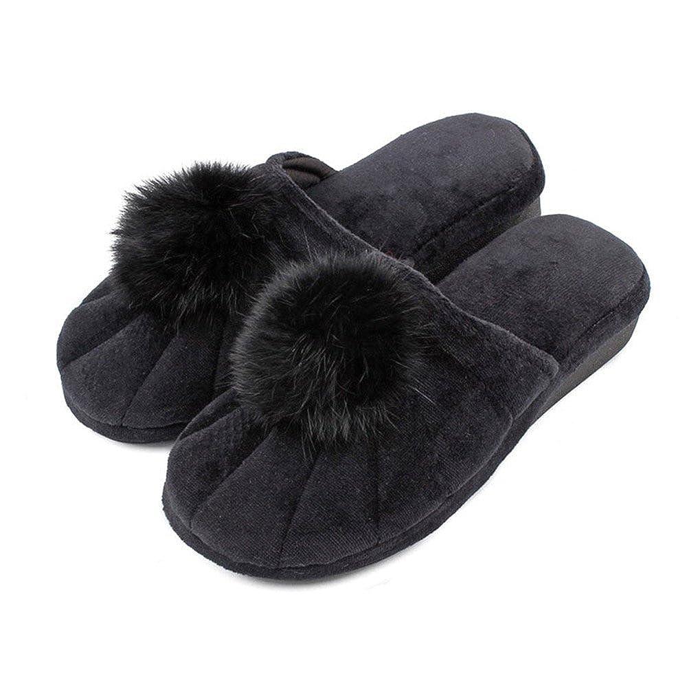 BININBOX Womens Soft Warm Cute Hair Bulb Indoor Slippers Cotton Shoes