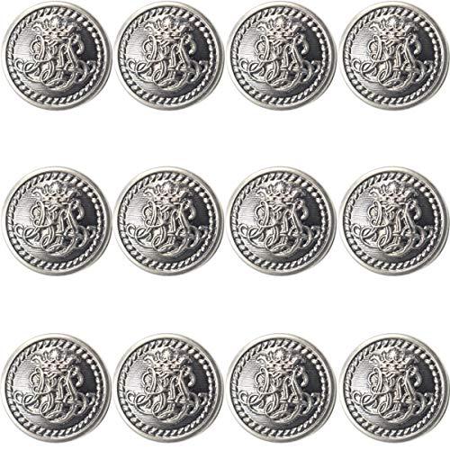 (12 Piece Metal Blazer Button Set - King's Crowned, Vine Crest - for Blazer, Suits, Sport Coat, Uniform, Jacket (Silver)25mm)