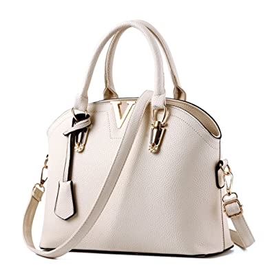 275ae0173e7b LIZHIGU Womens Top-handle Handbags Faux Leather Shoulder Bag Simple ...