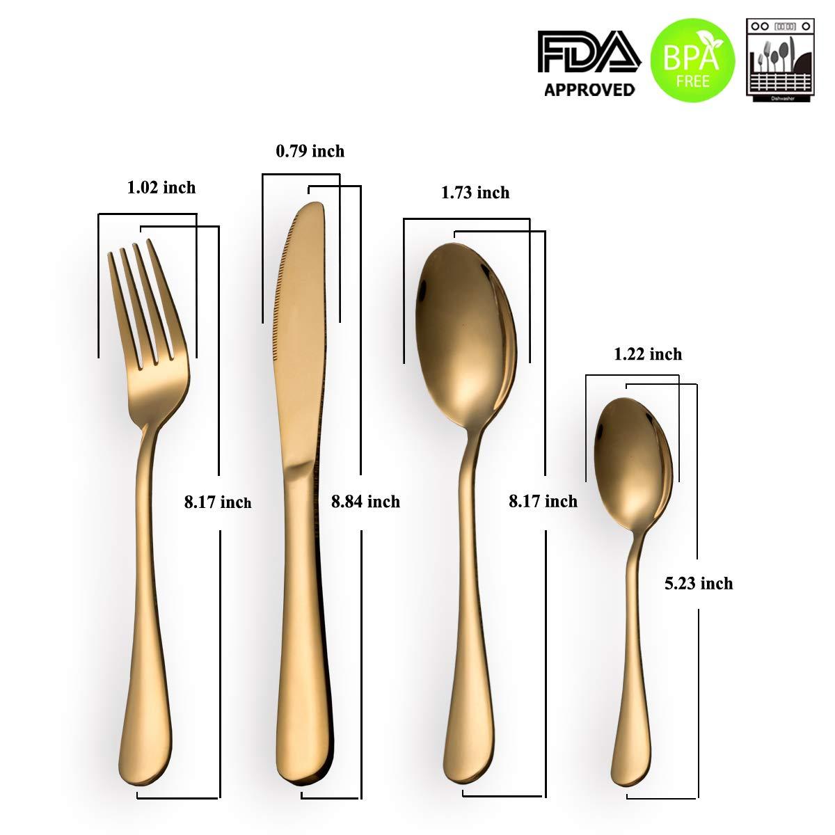HOMQUEN Cubiertos Set 24 Piezas Moderno chapado en oro de acero inoxidable Set de cubiertos, cuchillo cucharas cucharas Set, servicio para 6