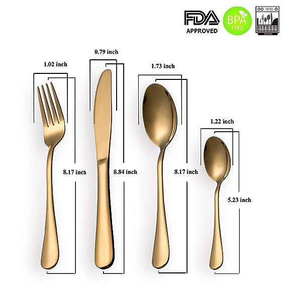 HOMQUEN Cubiertos Set 24 Piezas Moderno chapado en oro de acero inoxidable Set de cubiertos, cuchillo cucharas cucharas Set, servicio para 6: Amazon.es: ...