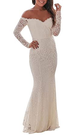 e3d5e07174c made2envy Crochet Off Shoulder Maxi Evening Party Dress at Amazon Women s  Clothing store