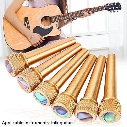 Guitar Bridge Pins 6Pcs Acoustic Guitar Bone Bridge Pins Brass + Abalone Pins Bridge Pin Set for Acoustic Folk Guitar Guitars