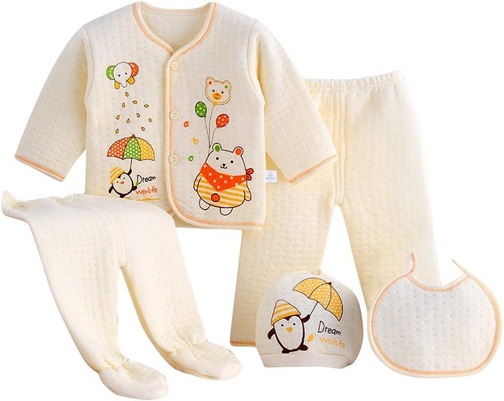 Value Pack Recién Nacido Bebé, LANSKIRT 6PCS Bebé Niña Niño Dibujos Animados Manga Larga Tops + Sombrero + Dos Pantalones + Conjunto de Traje Babero