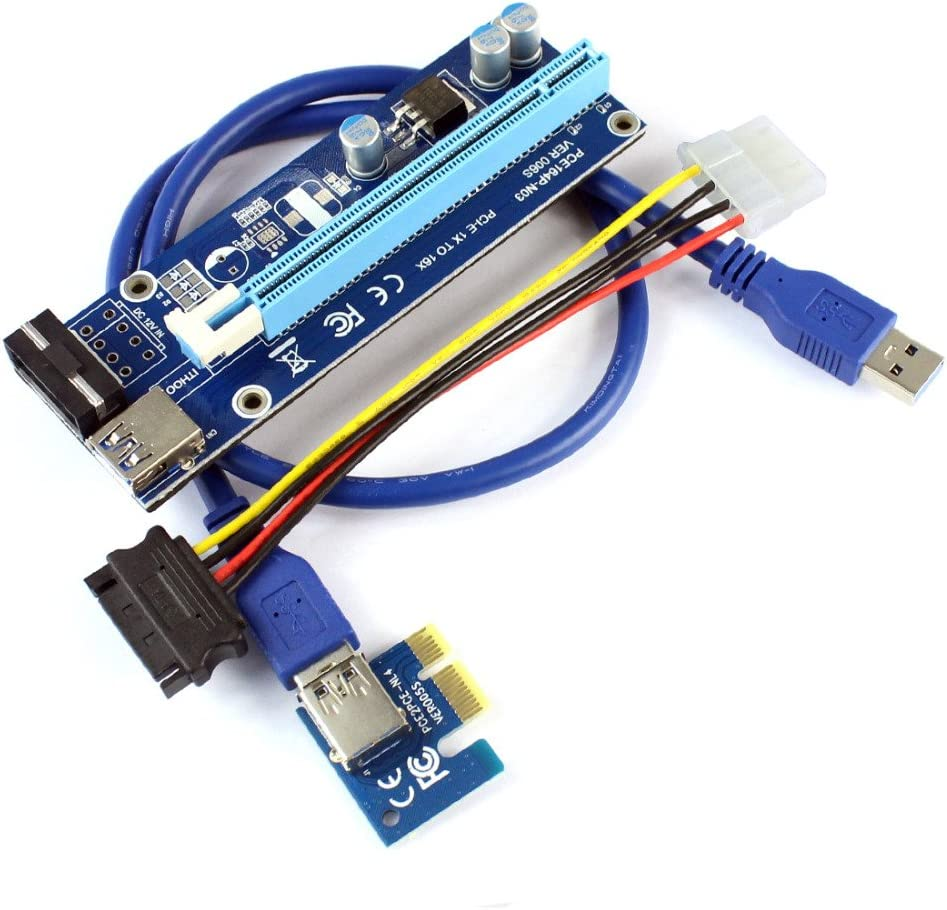 XT-XINTE PCIE 1X to 16X Graphics Card Extend Cable Strengthen Power Supply Adapter Card Anti-burning Design for Bitcoin Mining