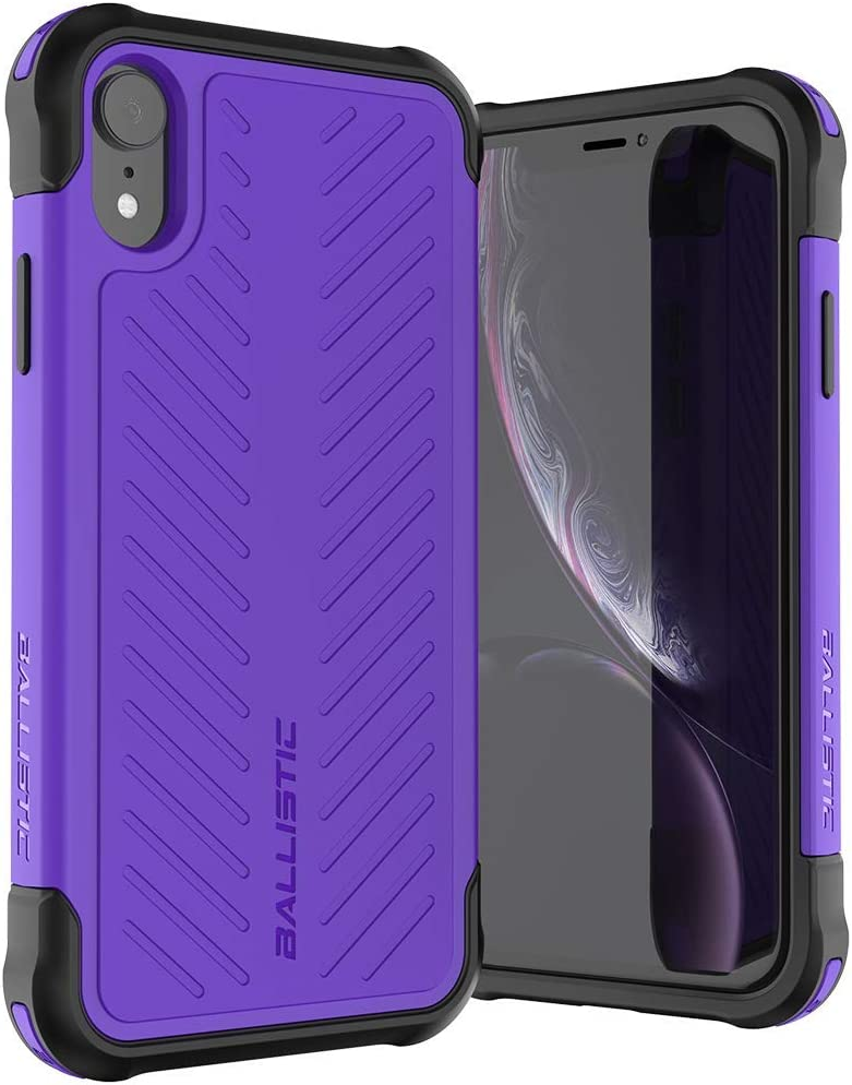 Ballistic iPhone XR Case, [Tough Jacket Series] Military Grade Drop Tested Protective Case for Apple iPhone XR, 6.1 Inch, Purple