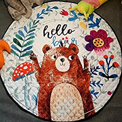YJ.GWL Kids Play Rug,Cute Cartoon Bear Playmat Rug with Non-Slip Backing Great for Nursery Baby,Ideal Gift for Kids Bedroom Play Room Classroom,58'' x 58''