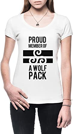 Proud Member of A Wolfs Pack Mujer Camiseta Blanco Todos Los Tamaños - Womens T-Shirt White: Amazon.es: Ropa y accesorios