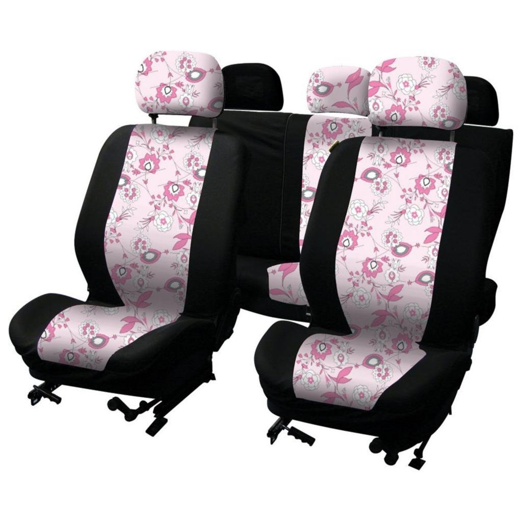 WLW Universal Fit Pink Flower Car Seat Covers Pink/Black Type 16 + Styling Keyfob