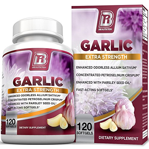 BRI Nutrition Odorless Garlic - 120 Softgels - 1000mg Pure And Potent Garlic Allium Sativum Supplement (Maximum Strength) - 60 Day Supply ()