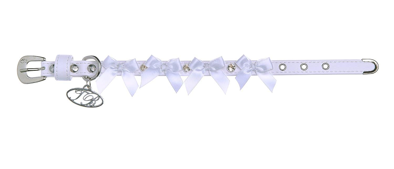Trilly Tutti Brilli Liv Hund Halsband mit weißen Schleifen und Swarovski-Nieten, 45cm, weiß