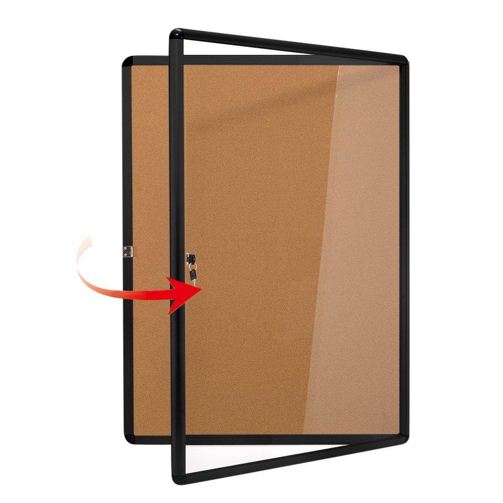 SwanSea Enclose Bulletin Board Case School Cork Noticeboards Cabinet with Mounting Screws 38×28 inch (9xA4)