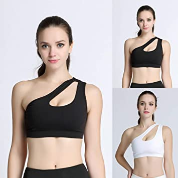0cc4456e60337 Amazon.com    Yoga Pants For Women -Sexy Women One Shoulder Hollow Out  Sports Bra Quick Dry Yoga Running Tank Top Christmas gifts   Beauty