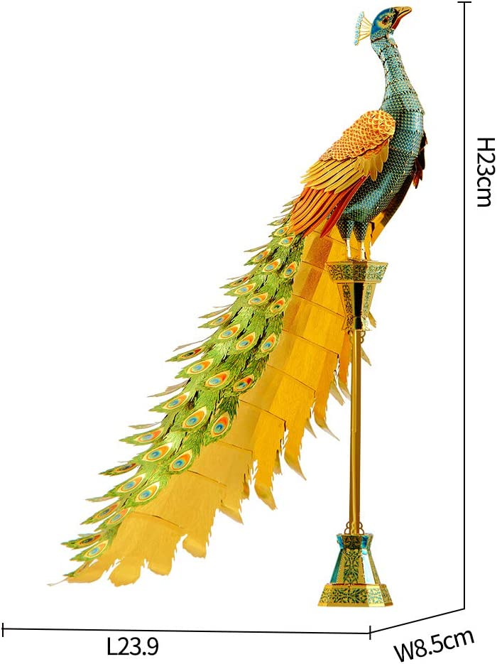 Colorful Peacock DIY 3D Metal Jigsaw Puzzle for Adults Piececool 3D Metal Model Kit for Adults