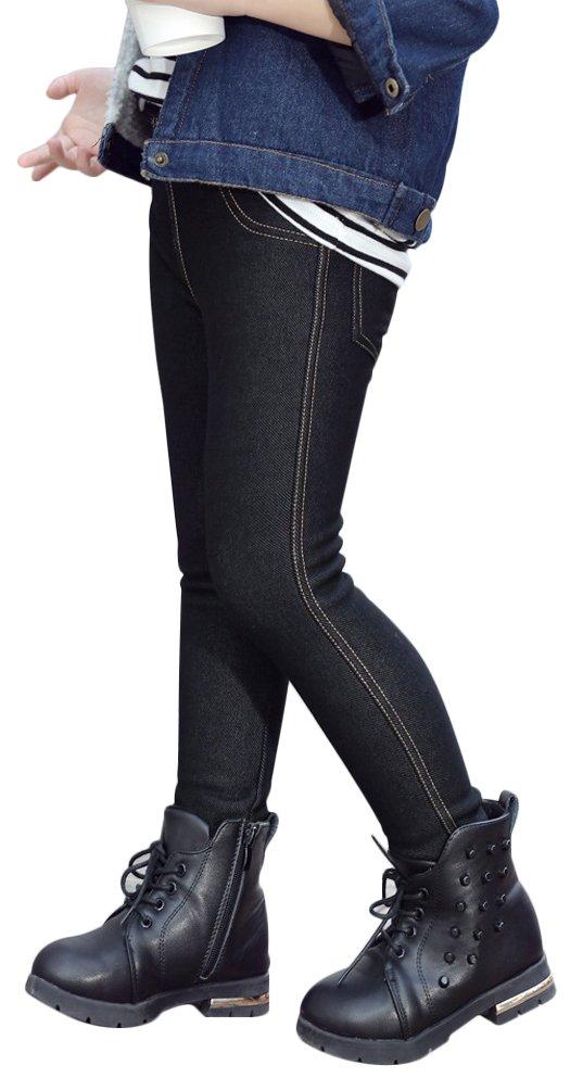 UwantC Kids Girl Winter Warm Fleece Lined Elastic Thick Leggings Long Pants Trouser Denim Black,US 10-11T,Tag 150