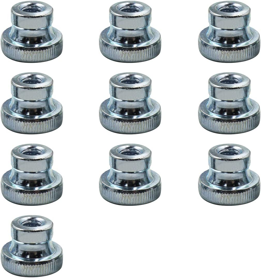 Yoohey Knurled Thumb M8 Knurled Nut with Collar Zinc Plating Round Thumb Nut,Pack of 10