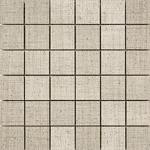 Canvas Mosaic Flooring - Emser Tile F72CANVKH1212MO Canvas - Square Mosaic Floor and Wall Tile - Textured Fabric Visual