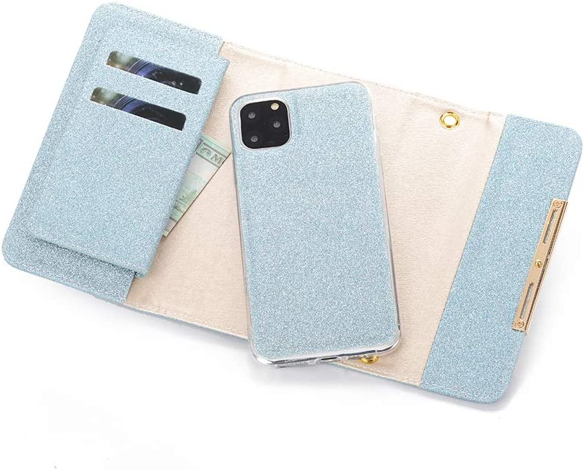 Businda Designed for iPhone 11 Pro Max Case Blue 6.5 inch Bling Shiny PU Leather Multi Envelope Wristlet Full Protection Dust-Proof Suitable for iPhone 11//XI Pro Max 2019 Release