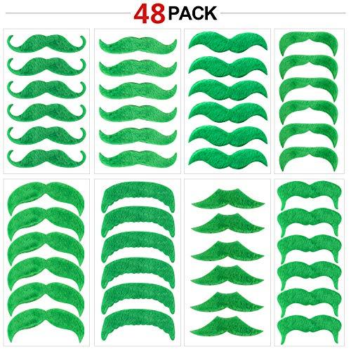 Konsait 48 Pcs Green Mustache Beard St. Patrick's Day Decorations Self Adhesive Fake Mustache Costume Dress up Face ()