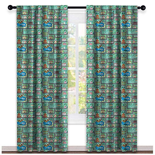 Linden Window Treatments - hengshu Kids Car Race Track Roadway Activity, Window Treatments Curtains Valance, Lively Town Components Illustration Cartoon Style, Curtains and Drapes for Living Room, W72 x L96 Inch Multicolor