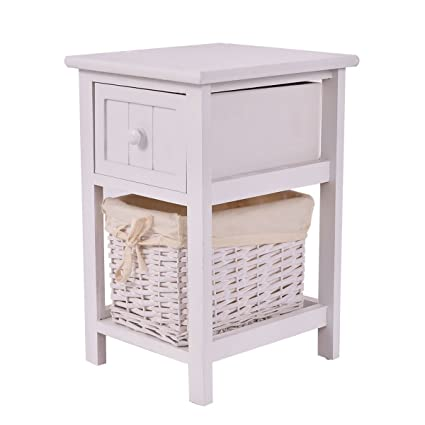 Giantex Mini Night Stand 2 Layer 1 Drawer Bedside End Table Organizer  Bedroom Wood W/