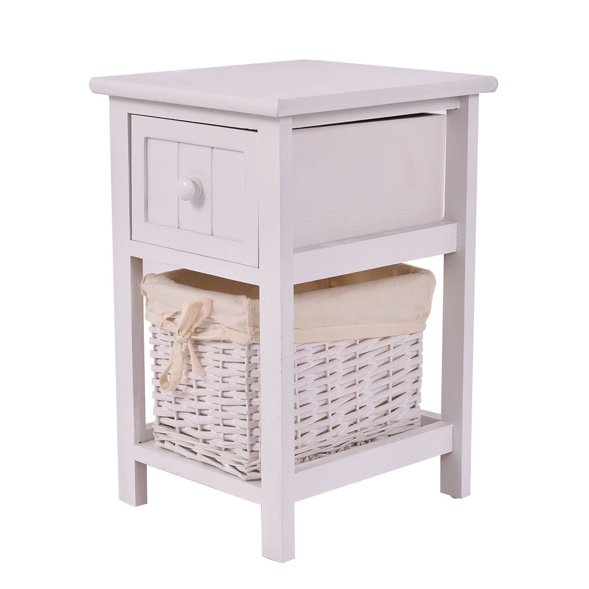 Giantex Mini Night Stand 2 Layer 1 Drawer Bedside End Table Organizer Bedroom Wood W/Basket (1)