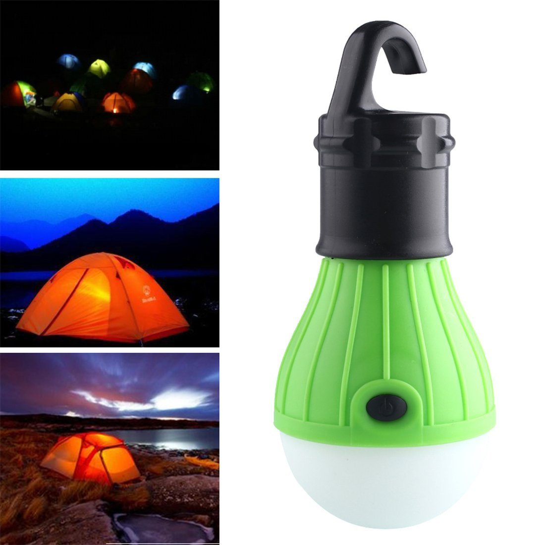 Dailyinshop Bombilla de luz LED Ultra Brillante para Tienda de Campaña con Mango de 3 LED con Gancho para Lámpara (Color: Verde)