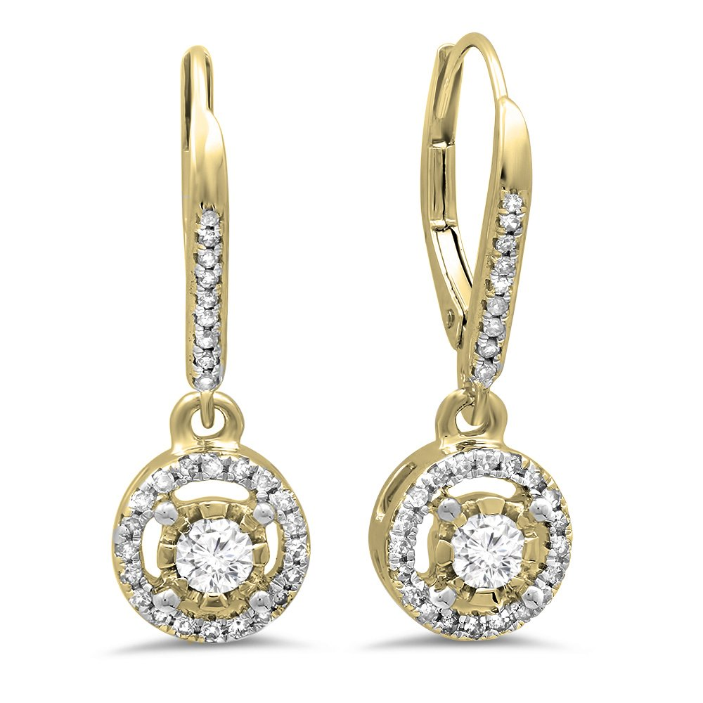 0.50 Carat (ctw) 14K Yellow Gold Round Diamond Ladies Cluster Halo Style Dangling Drop Earrings 1/2 CT