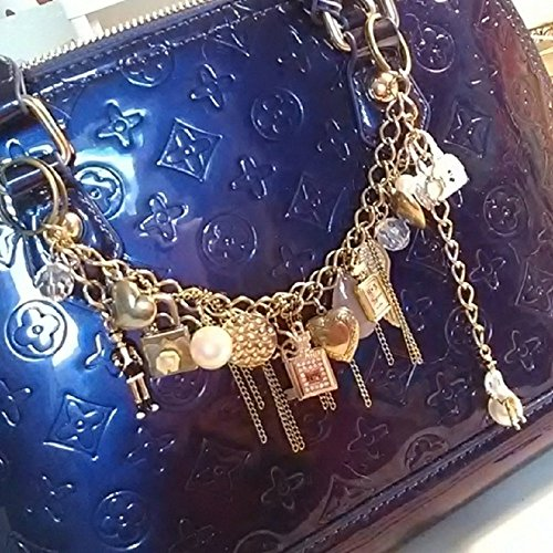 Bag Chain Charm, Hancrafted with, Hearts, Pearls, Crystal Perfume Bottle charm, Gold Perfume Bottle charm, Thick gold Chain, Kelly Bag charm. Handcrafted, Handmade ()