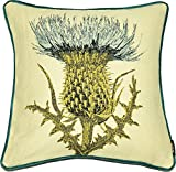 McAlister Woven Tapestry Thistle Pillow Cover | Blue Green Embroidered 16x16 Throw Cushion