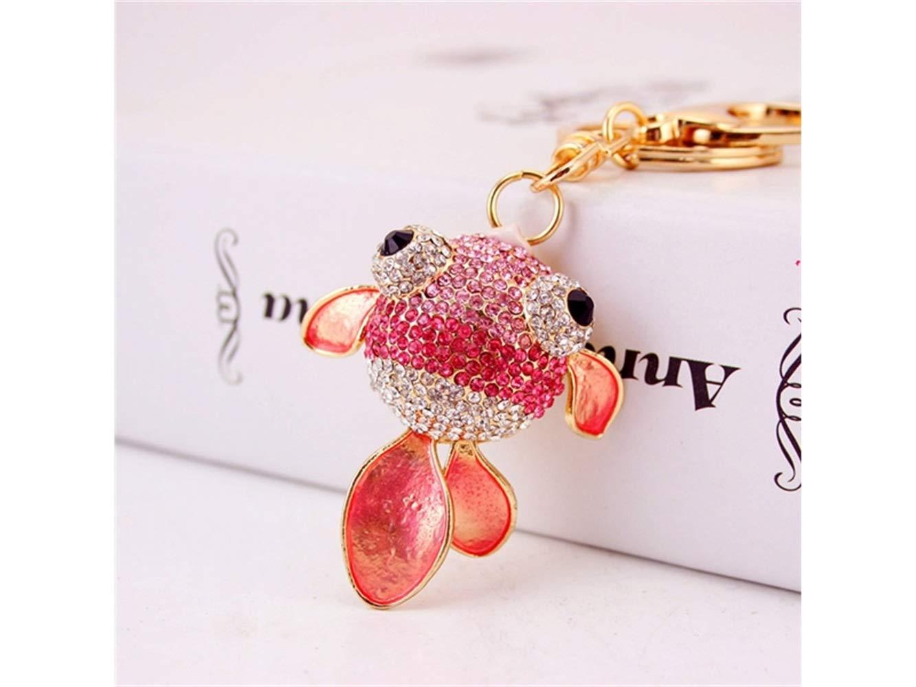 Car Keychain, Cute Diamond Goldfish Keychain Animal Key Trinket Car Bag Key Holder Decorations(Pink) for Gift