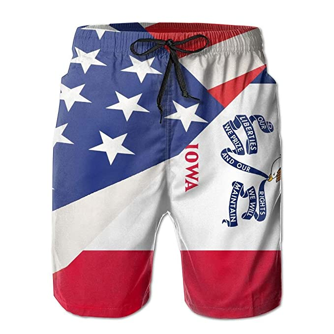 9ec8e60e3f9d Amazon.com  Jia3261 Men Summer Iowa State Flag USA American Flag Quick Dry  Beach Shorts Board Shorts Swim Trunks Cargo Shorts Parent  Clothing