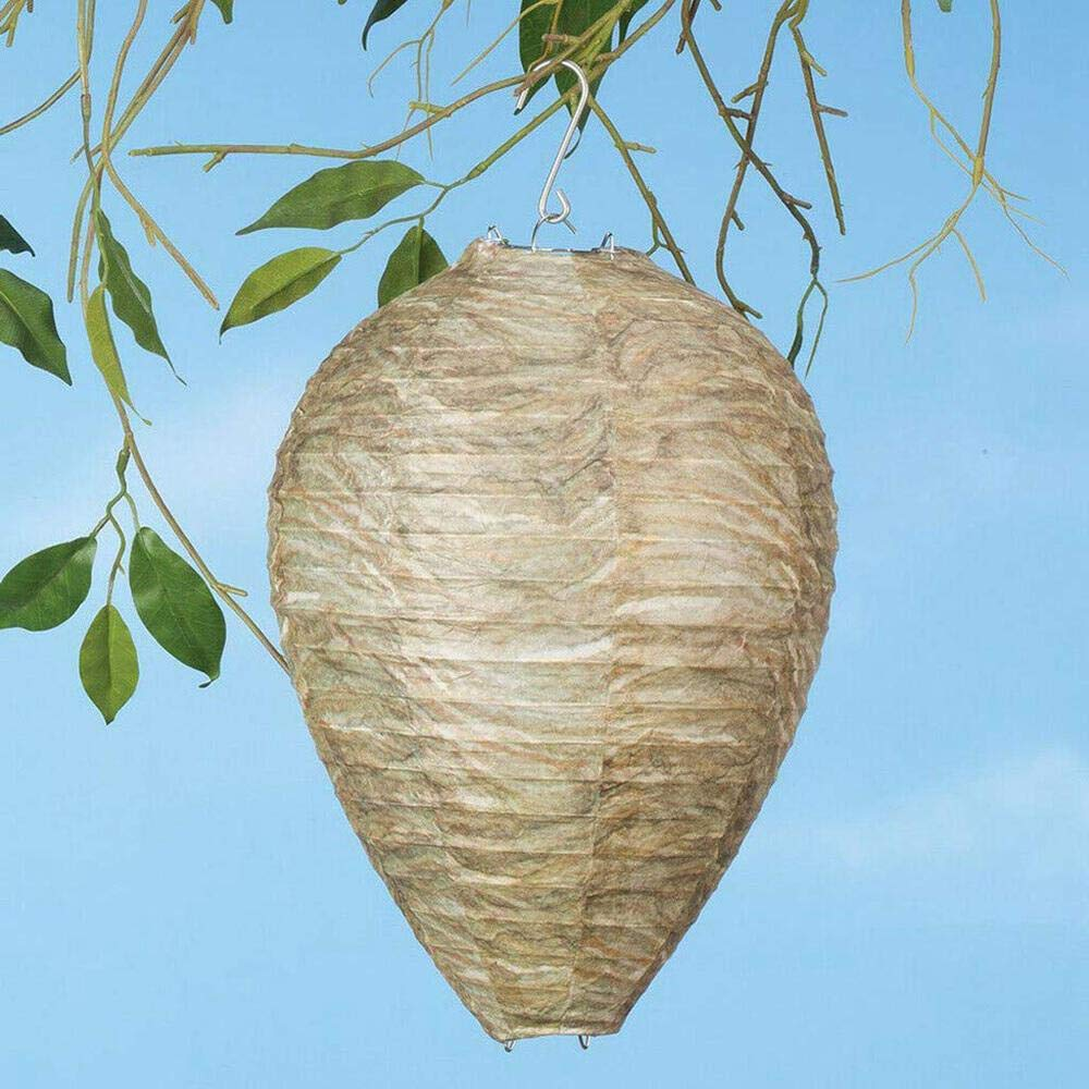 Hamkaw Hanging Wasp Deterrent Nest 2 Pack All Natural Hornets Bee Wasp Nest Decoy Outdoor Effective /& Non-Toxic Hanging Paper Wasp Repellent For Wasps Hornets Yellowjackets